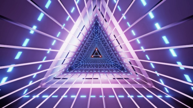 Abstract triangle tunnel with lines illuminated with bright violet neon lamps Premium Photo