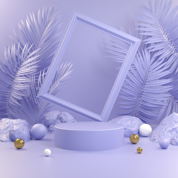 Abstract violet podium with frame and palm leaf background 3d render Premium Photo