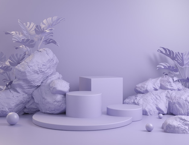 Abstract violet podiums geometric set with rock and plants background 3d render Premium Photo