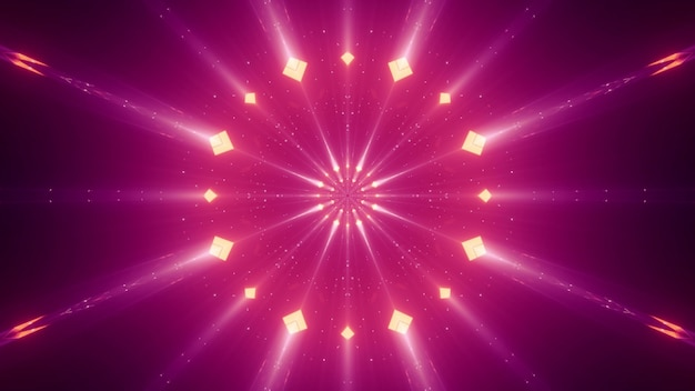 Abstract vivid neon rays with small rhombuses glowing in darkness Premium Photo