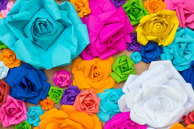 Abstract wallpaper rainbow colorful rose flower paper background Premium Photo