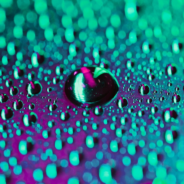 Abstract water droplets on bokeh bright backdrop Free Photo