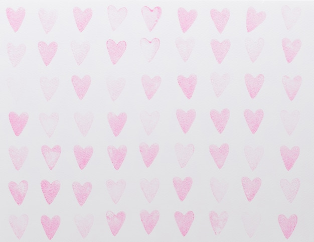 抽象的な水彩ピンクハートシームレスパターン Premium写真