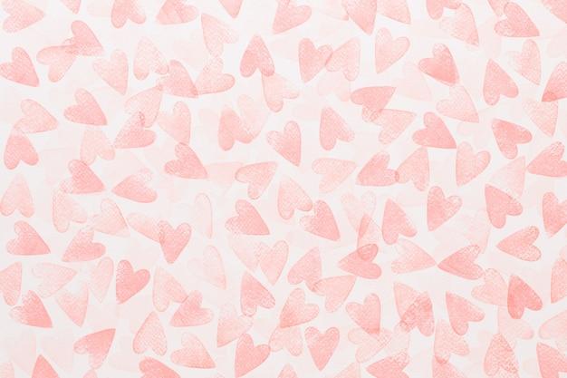 抽象的な水彩赤、ピンクの心の背景。コンセプト愛、バレンタインデーのグリーティングカード。 Premium写真