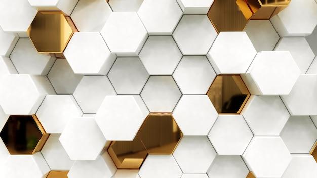 抽象的な白と金色の六角形 Premium写真