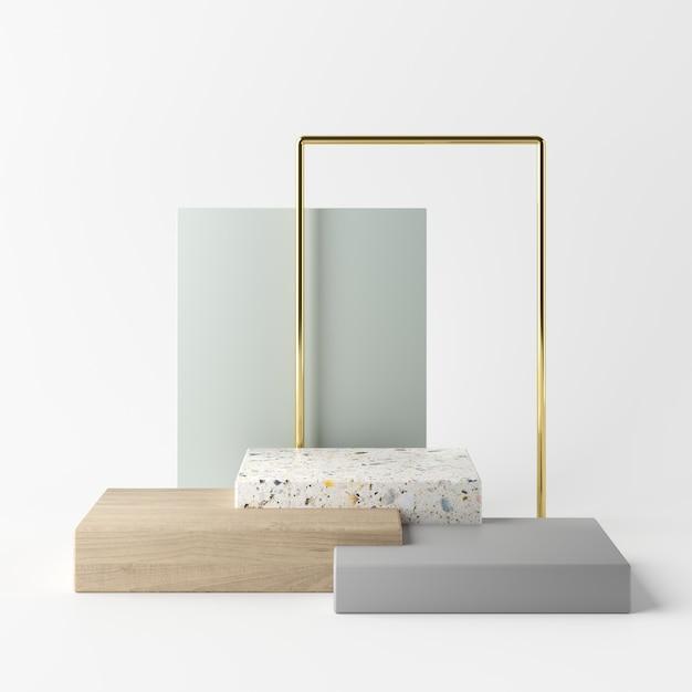 Абстрактная белая предпосылка с подиумом геометрической формы для продукта. минимальная концепция 3d-рендеринг Premium Фотографии
