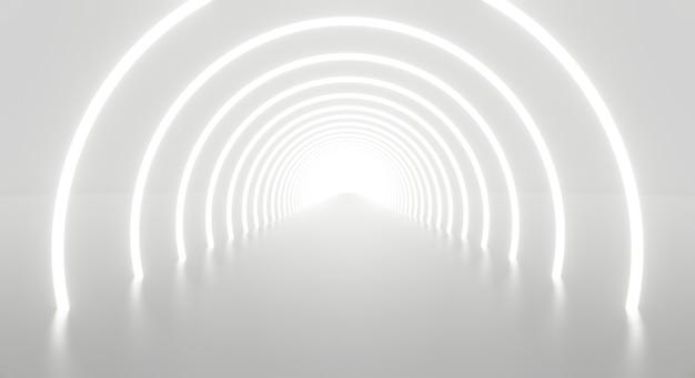 Абстрактная архитектура туннеля белого света в конце. Premium Фотографии