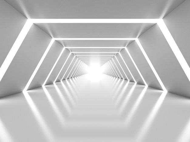 抽象的な白い輝くトンネルのインテリア Premium写真