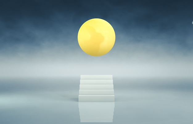 Abstract white stair backdrop with full moon background. 3d render. Premium Photo