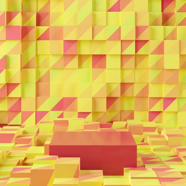 Абстрактная желтая предпосылка с подиумом геометрической формы. 3d-рендеринг для продукта. Premium Фотографии
