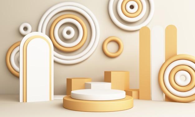 연단과 추상 노란색 구성입니다. 둥근 받침대 및 복사 공간, 쇼케이스, 제품 프레젠테이션이있는 최소 스튜디오 3d 렌더링 프리미엄 사진