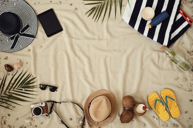 夏休み、トップビューの背景用アクセサリー 無料写真