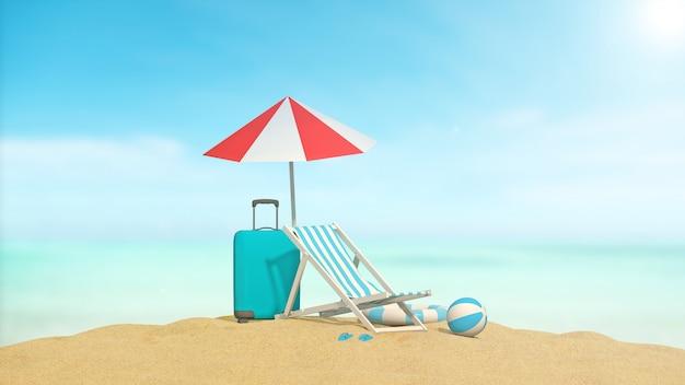 海の背景を持つ海旅行のアクセサリー Premium写真