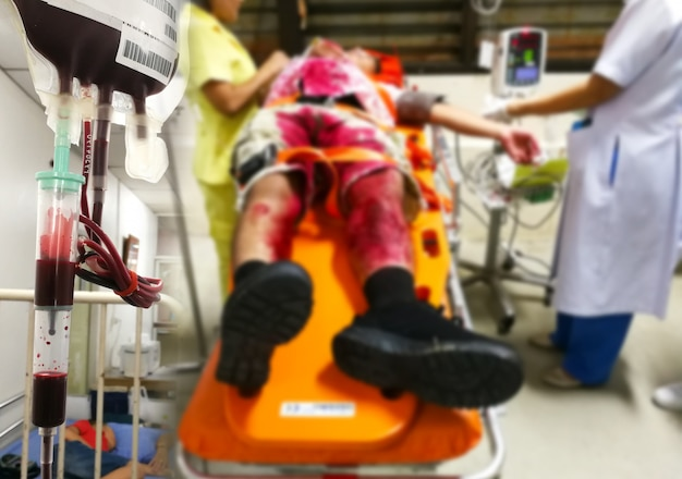 Accident and emergency and blood supply patients in emergency room,blur Premium Photo