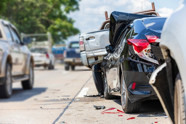 Accident involving many cars on the road Premium Photo