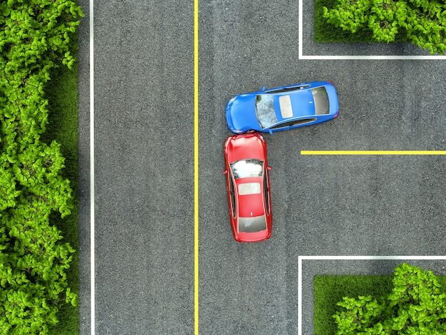 Accident on the road Premium Photo