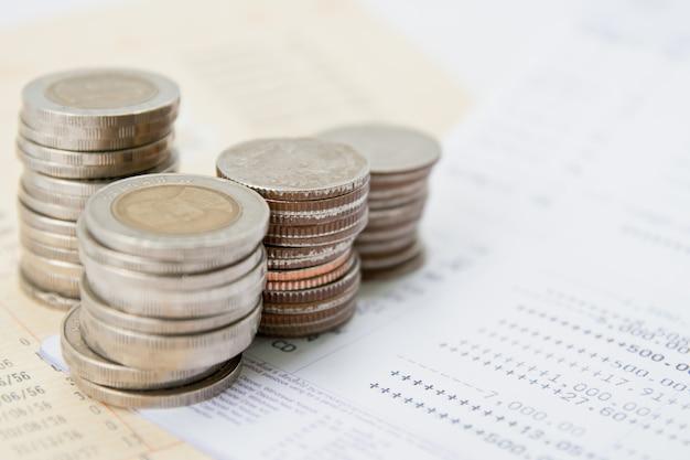 Account passbook and thai money Premium Photo