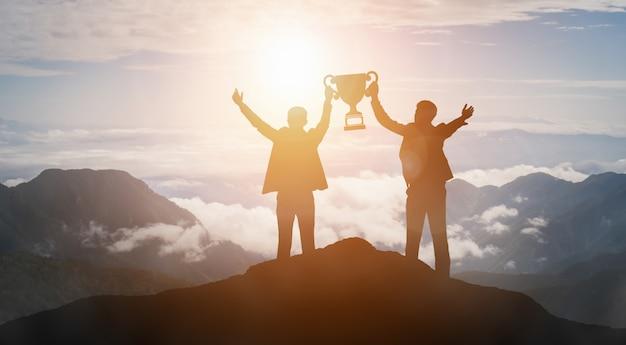 성취와 비즈니스 목표 성공 개념. 프리미엄 사진