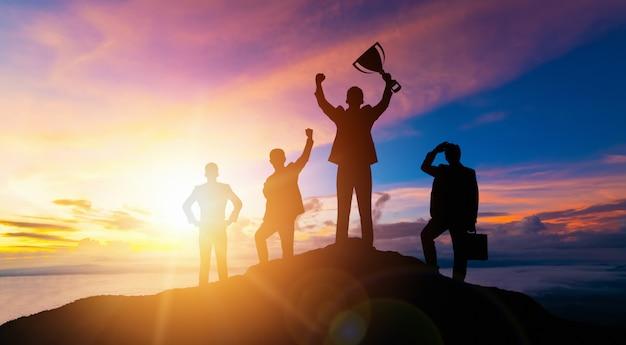 Achievement and business goal success concept. Premium Photo