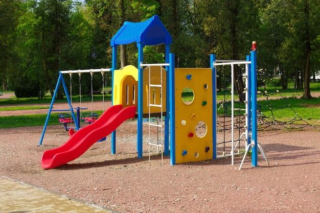Acolorful children playground, without children Premium Photo