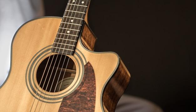 コピースペースを持つアコースティックギターのクローズアップ 無料写真