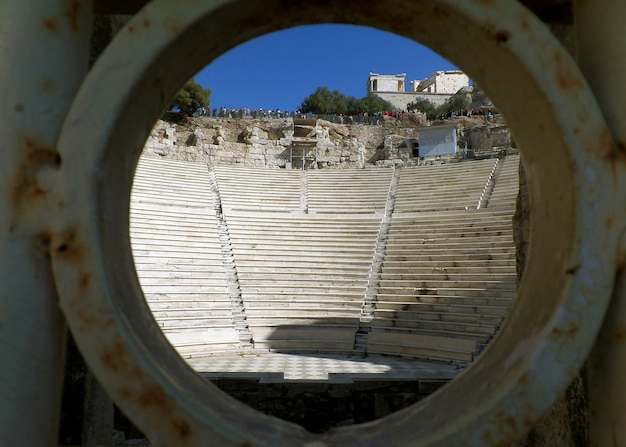 The acropolis as seen from the entrance of odeon of herodes atticus, athens, greece Premium Photo
