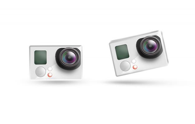Action camera icon mockup, isolated. Premium Photo