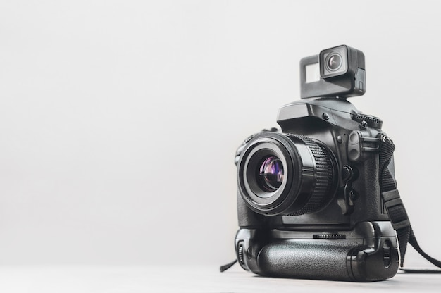 Action camera with a professional camera Premium Photo