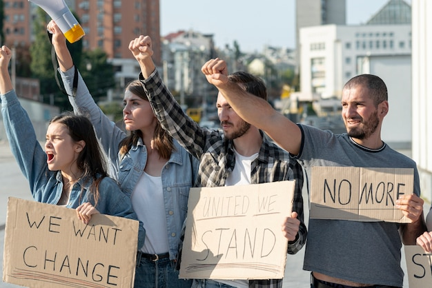 Activists standing together for demonstration Free Photo
