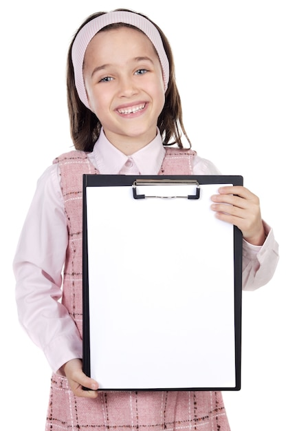 Adorable girl student with notepad Premium Photo