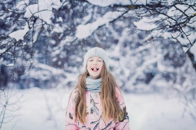 Adorable little girl having fun Premium Photo