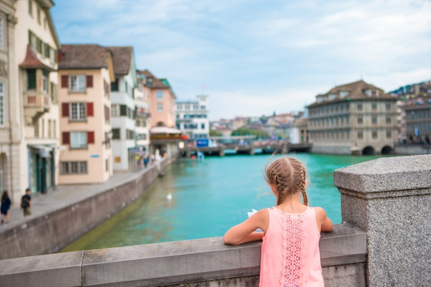 Adorable little girl outdoors in zurich Premium Photo
