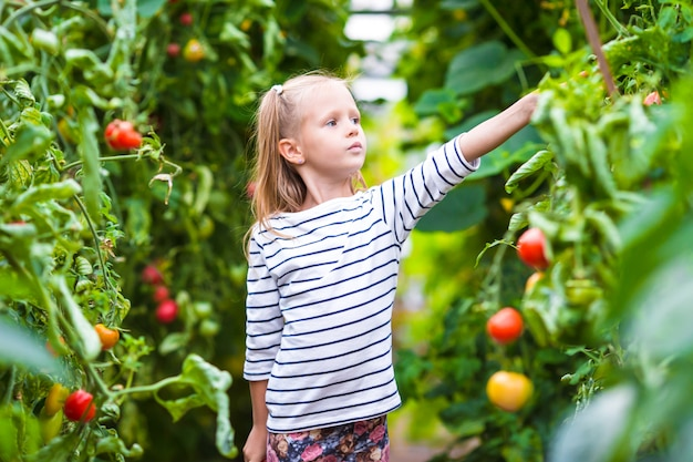 Adorable little girl with cucumbers and tomatoes in greenhouse Premium Photo