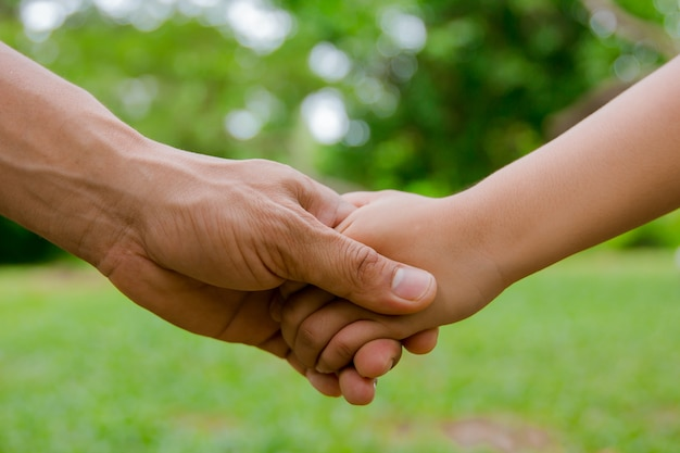 Premium Photo | Adult and child shaking hands isolated on a green background
