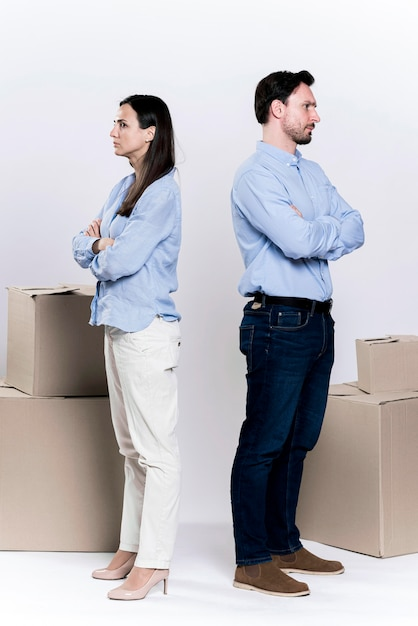 Adult male and woman divorcing each other Free Photo