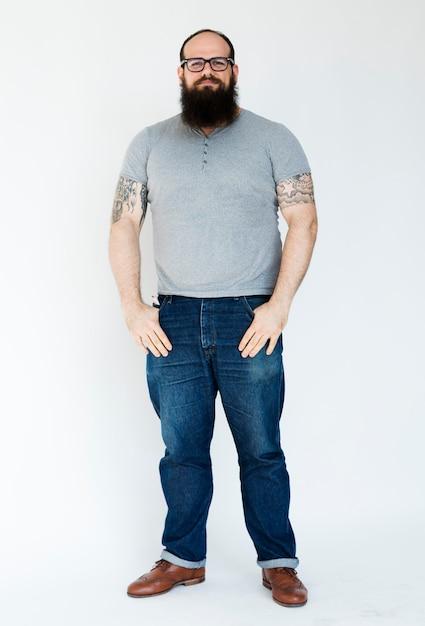 Adult man serene face expression studio portrait Premium Photo