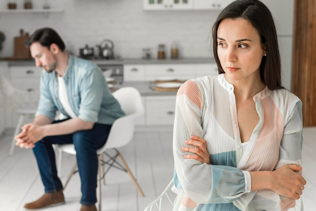 Adult woman and male thinking of next step Free Photo
