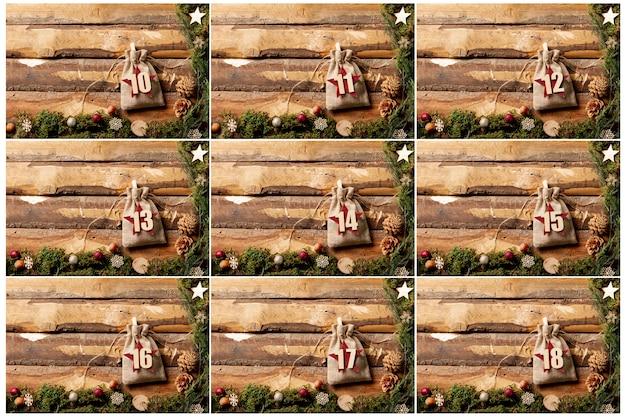 Адвент календарь дизайн с числами на мешочках Бесплатные Фотографии