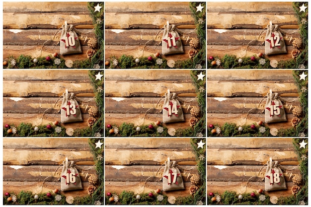 Advent calendar design with numbers on pouches Free Photo