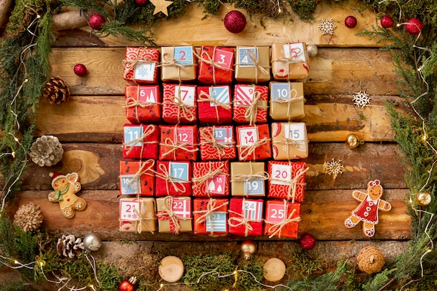 Advent calendar with numbered small gifts Free Photo