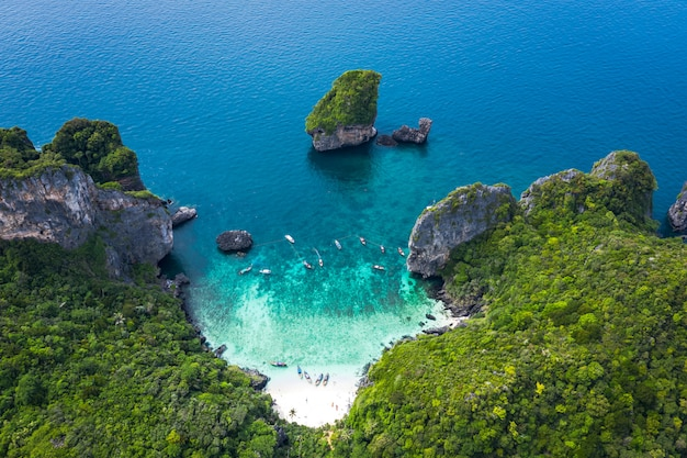 Adventure style hi season thai and foreign travel trip tourists long tail boat and driving see coral Premium Photo