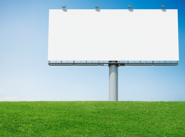 Advertisement bill board with green grass Free Photo