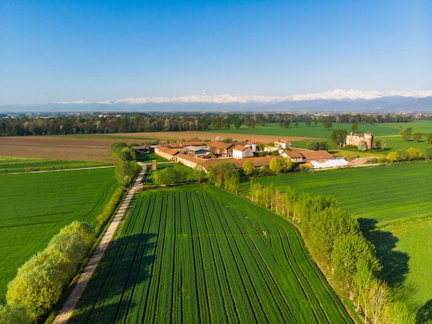 Aerial cultivated fields from above, rural farm in italian green countryside with snowcapped alps Premium Photo