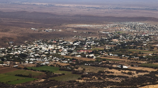 Aerial landscape shot of the prince albert town in south africa Free Photo