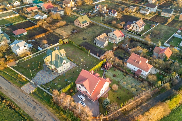 Aerial landscape of small town or village with rows of residential homes and green trees. Premium Photo
