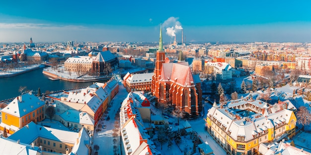 Aerial panorama of wroclaw in the winter morning Premium Photo