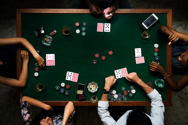 Aerial of people playing gamble in casino Premium Photo