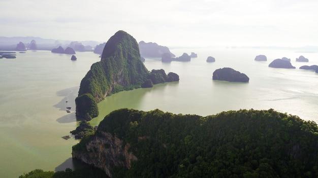Aerial photo  of landscape mountain and coast  thailand Premium Photo
