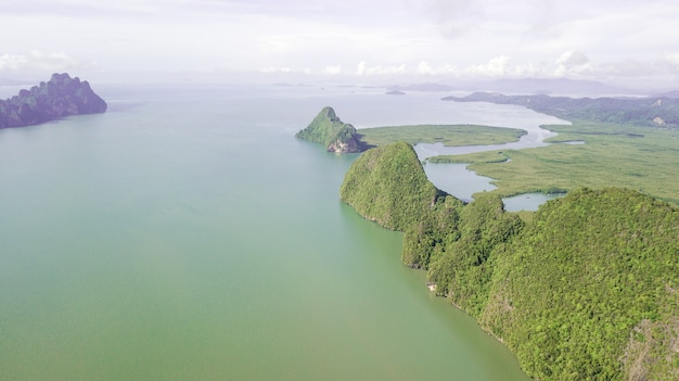 Aerial photo  of landscape mountain and coast  thailand Premium Photo