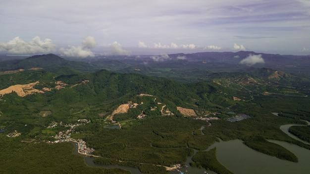 Aerial photo  of landscape mountain thailand Premium Photo